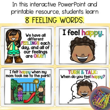 FEELINGS & EMOTIONS PowerPoint Lesson, Masks, Scenario Cards, & Activity Books!
