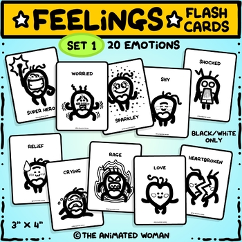 FEELINGS Flashcards – Set 1 Black & White ONLY