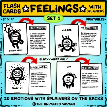 FEELINGS Flashcards With Splainers – Set 1 Black & White ONLY