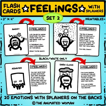 FEELINGS Flashcards With Splainers – Set 2 Black & White ONLY