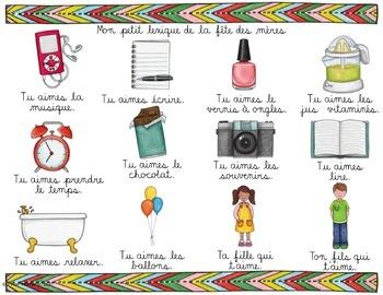 FÊTE DES MÈRES - Mots de vocabulaire /24 affiches (script et cursif)