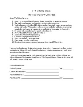 FFA Chapter Officer Professionalism Contract