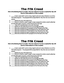 FFA Creed Activity Options