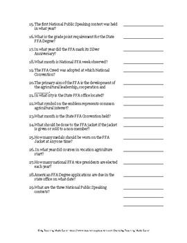 FFA Greenhand Practice Quiz 1