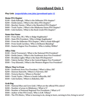 FFA Greenhand Questions Set 1 for Use With Jeopardy Labs