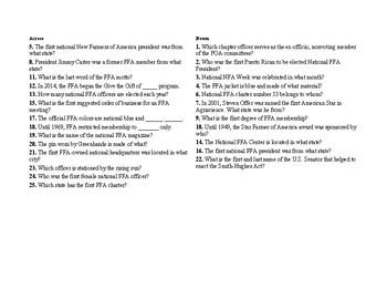 FFA Greenhand Quiz Knowledge Crossword #2