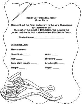 FFA Jacket Order Form