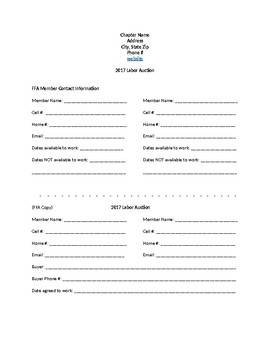 FFA Labor Auction Contact form for buyers