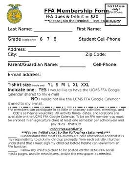 FFA Membership Form