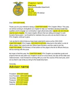 FFA Officer Announcement Letter