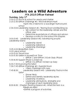 FFA Officer Retreat Agenda