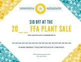 FFA Plant Sale Certificate