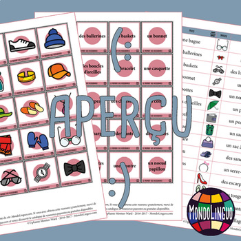 Memory Game to teach French/FFL/FSL: Accessoires/Accessories