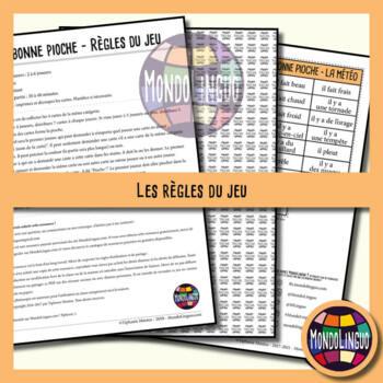 Card game to teach French/FFL/FSL: Bonne pioche - Météo/Weather