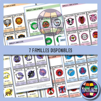 Card game to teach French/FFL/FSL: 7 familles sur les animaux/Animals
