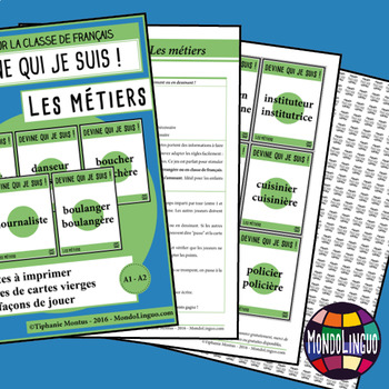 Games to teach French/FFL/FSL: Guess what I'm doing! Métiers/Jobs