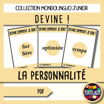 French/FFL/FSL - Games - Guess what I'm doing! Personality Traits