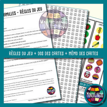 Card game to teach French/FFL/FSL: 7 familles sur la nourriture/Food