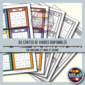 Games to teach French/FFL/FLS: Morpion de la conjugaison/Tic Tac Toe - 30 Verbs