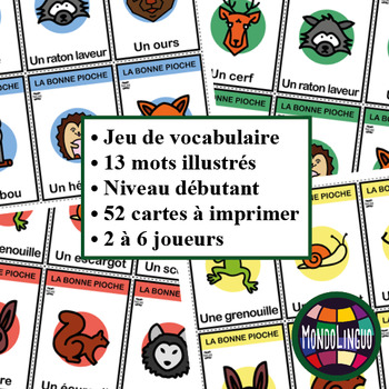 Card game to teach French/FFL/FSL: Bonne pioche - Animaux Forêt/Forest Animals