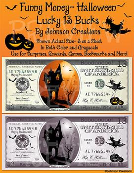 Funny Money- Halloween Lucky 13 Bucks