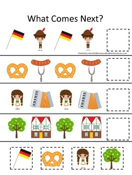 Germany What Comes Next preschool math game.  Printable daycare curriculum.
