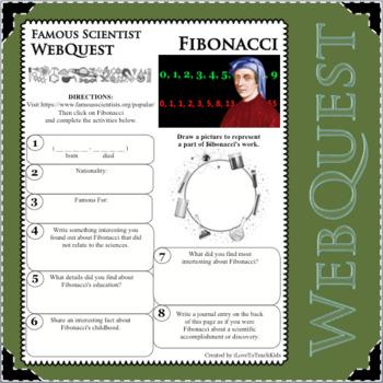 FIBONACCI Science WebQuest Scientist Research Project Biography Notes