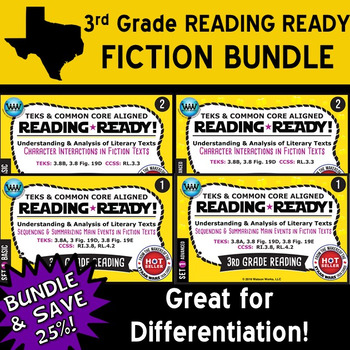 FICTION BUNDLE ~ READING READY 3rd Grade Task Cards – 4 Basic & Advanced Sets
