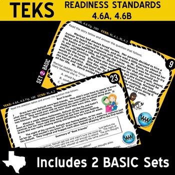 FICTION BUNDLE ~ READING READY 4th Grade Task Cards – 4 Basic & Advanced Sets