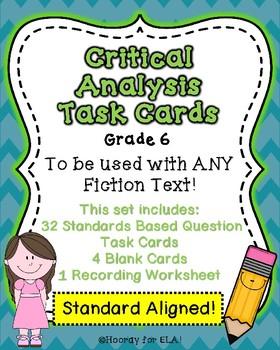 FICTION CRITICAL ANALYSIS TASK CARDS- Grade 6