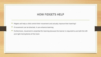 FIDGETS AND OTHER SENSORY IDEAS FOR THE UNFOCUSED STUDENT