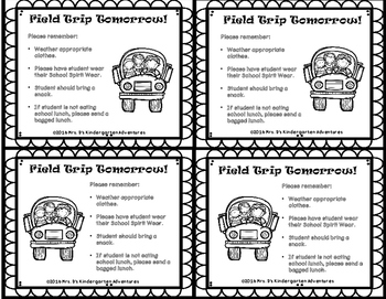 FIELD TRIP REMINDER SLIPS  - In English & Spanish -