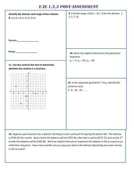 F.IF.1,2,3 Post Assessment/Test Algebra 1 Common Core