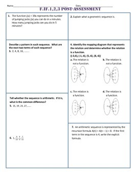 F.IF.1,2,3 Post Assessment/Test Algebra 1 Common Core
