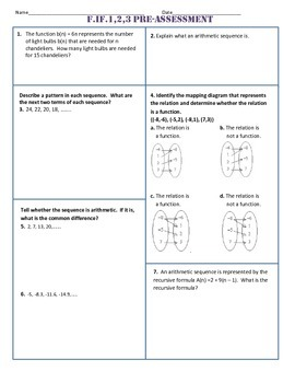 F.IF.1,2,3 Pre Assessment/Test Algebra 1 Common Core
