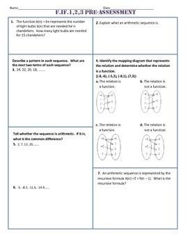 F.IF.1,2,3 Pre Assessment/Test Algebra 1 Common Core