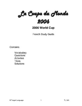 FIFA 2006 World Cup-Spanish Study Guide