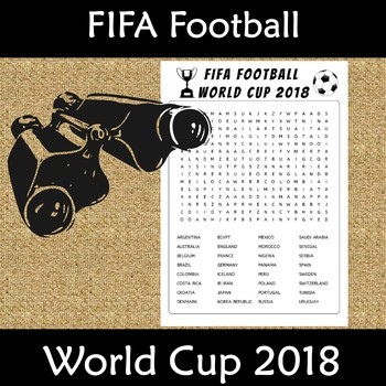 FIFA Football World Cup 2018 Countries Word Search Find