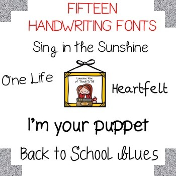 FONTS FOR COMMERCIAL USE  - FIFTEEN HANDWRITING FONTS BUNDLE