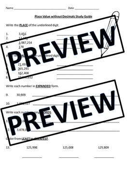 FIFTH GRADE COMMON CORE MATH NBT1 and NBT2-Place Value/Review