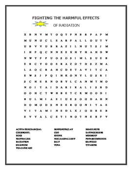 FIGHTING THE HARMFUL EFFECTS OF RADIATION- WORD SEARCH
