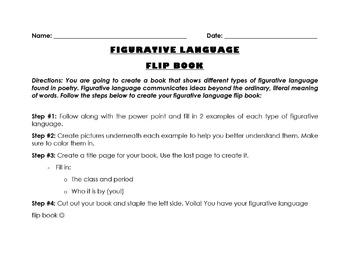 FIGURATIVE LANGUAGE FLIP BOOK ACTIVITY & POWER POINT