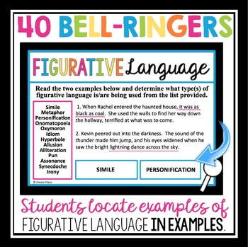 FIGURATIVE LANGUAGE PRACTICE:  BELL RINGERS & TASK CARDS