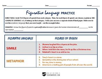 FIGURATIVE LANGUAGE Practice Activity
