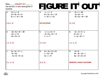 FIGURE IT OUT:  systems of equations with matrices
