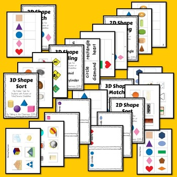 AUTISM FILE FOLDER TASKS FOR TEACHING 2D AND 3D SHAPES FOR STUDENTS WITH AUTISM