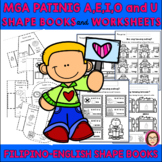 FILIPINO VOWELS A, E, I, O and U SHAPE BOOKS and WORKSHEETS