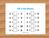 FILL IN THE BLANKS ADDITION A (10 Worksheets)