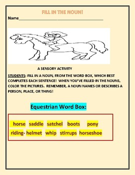 FILL IN THE NOUNS: A SENSORY ACTIVITY: FOR DYSLEXIC & ESL STUDENTS