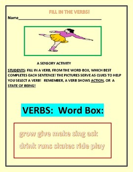 FILL IN THE VERBS: A LANGUAGE ARTS ACTIVITY FOR DYSLEXIC & ESL STUDENTS